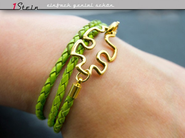 Wickelarmband *Puzzle* | Flechtleder, grün + gold