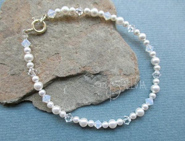 Perlenarmband mit Swarovski Elements® Kristallen, weiß | 925 Silber