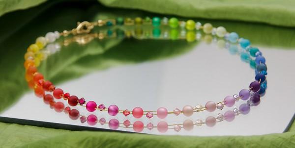 Collier | Regenbogen | mit Swarovski Elements® und Polaris Perlen bunt + glitzernd auf gold