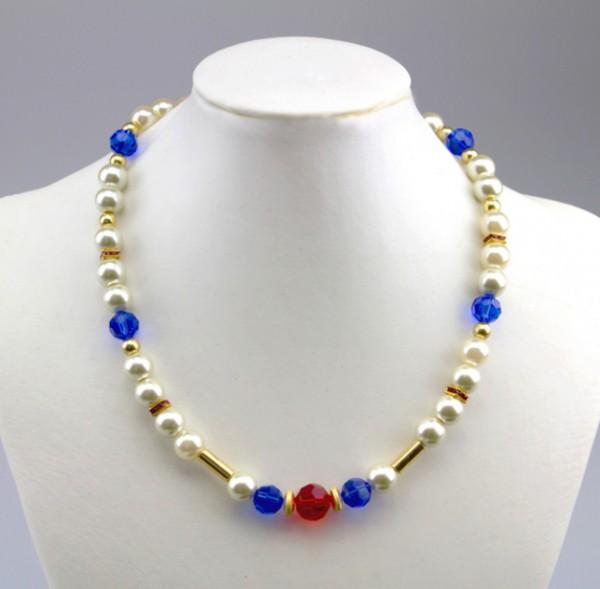 Halskette 'Maritima'   im Marinelook blau, weiß, rot - mit gold   ca. 46 cm