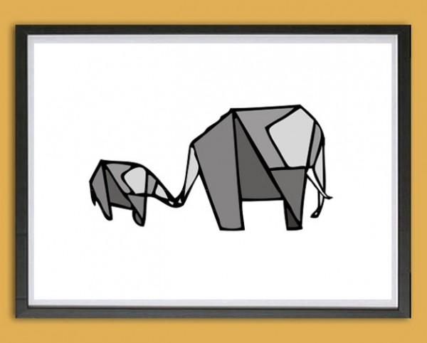 Grafik Druck | Mama + Kind, Origami, Graustufen
