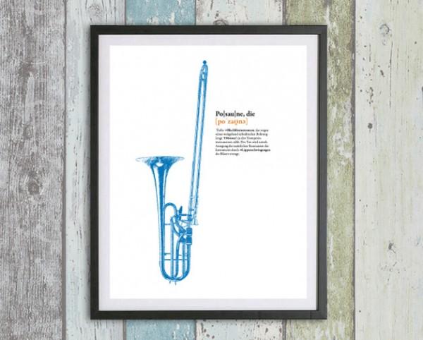 Musik Druck | Posaune | Dein Lieblingsinstrument als Digital Druck für die Wand | personalisierbar