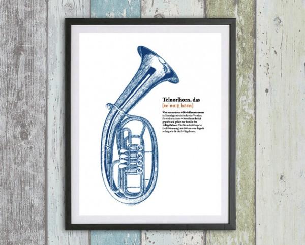 Musik Druck | Tenorhorn | Dein Lieblingsinstrument als Digital Druck für die Wand | personalisierbar
