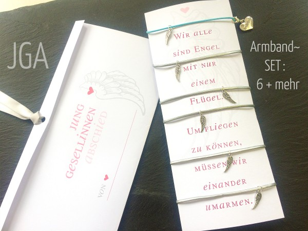 SET | 6 + mehr: JGA Armbänder, Engelsflügel, Braut