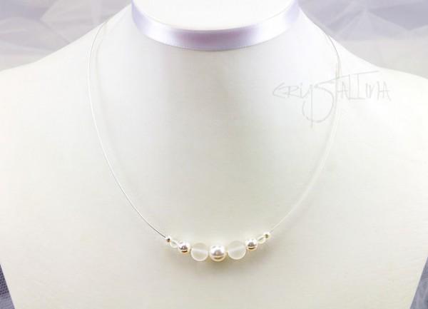 Collier - kurze Halskette | Brautkette weiß | Perle + Bergkristall