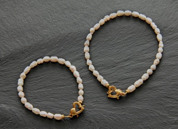 Armband Set | Mutter und Tochter Schmuckset | Perlenherz Armbänder