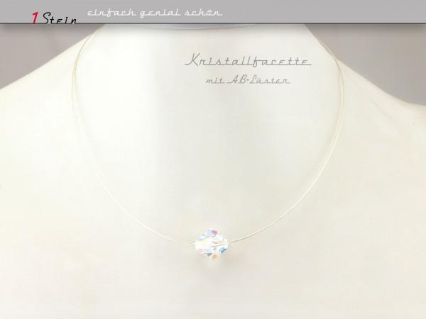 Draht Collier | Brautkette mit Swarovski Kristallfacette | 925 Sterling Silber Schließe