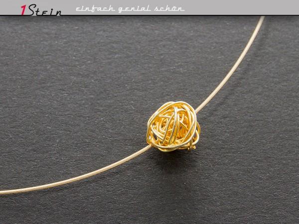 Draht Collier | Goldknäuel auf Juwelierdraht | Vergoldet