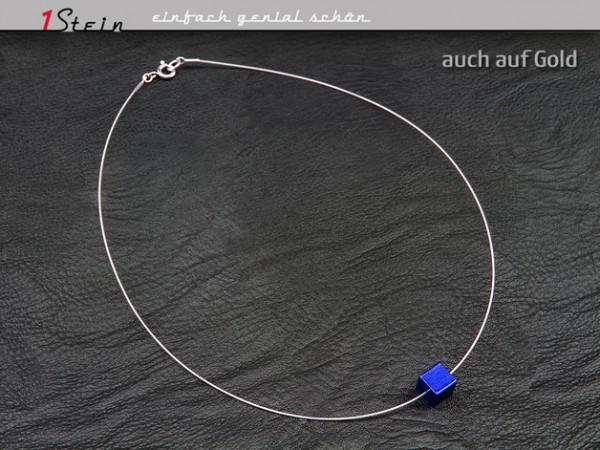 Halskette | Draht Collier | Aluminium Würfel | Juwelierdraht versilbert | blau