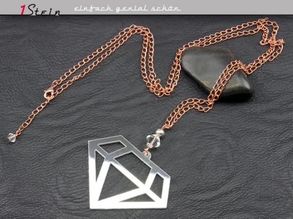 Lange Gliederkette mit Anhänger | Diamant, rosengold