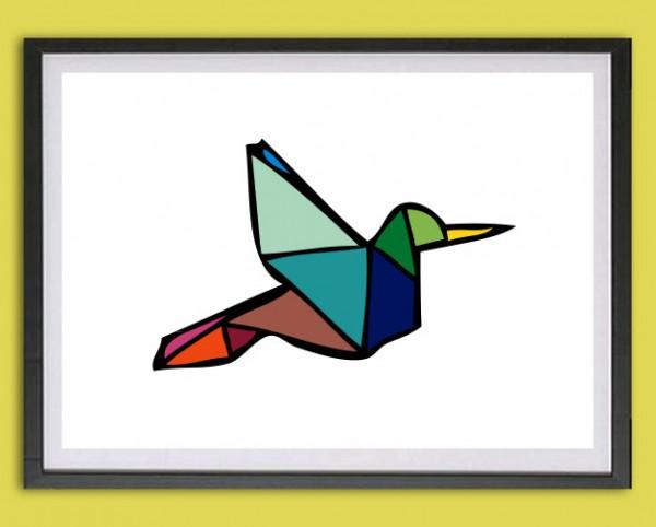 Grafik Druck | Fly away, Origami | bunt