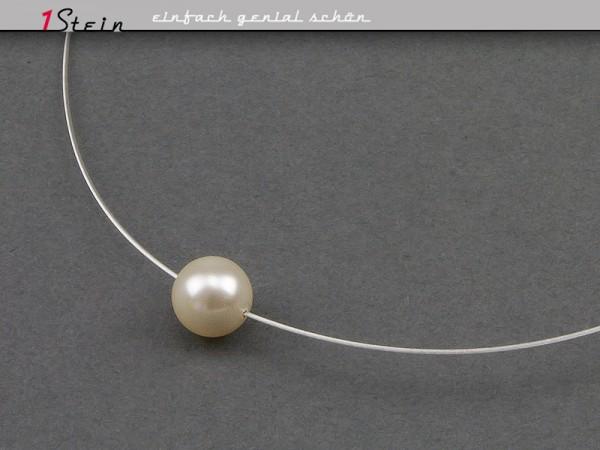 Draht Collier | Hochzeit + Brautschmuck | mit Swarovski Elements® Perle in weiß