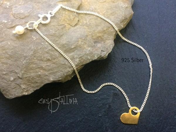 FreundschaftsArmband LOVE, 925 Silber, Herz, Perle