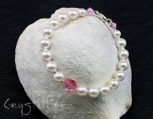 Perlenarmband mit Swarovski Elements® Perlen | für die Braut | weiß mit Farbakzent