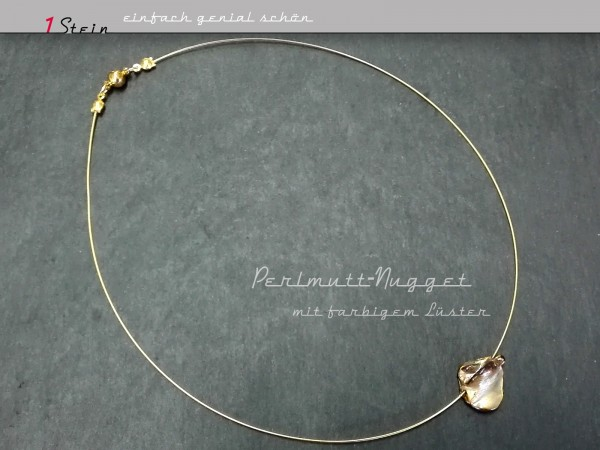 Schlichte Halskette | Draht Collier | Juwelierdraht + Perlmutt-Nugget in Wunschlänge