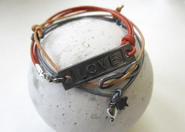 Leder Love | 3er Set Armband mit Symbolanhängern
