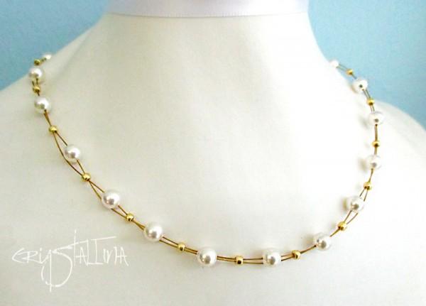 Brautschmuck | Perlenkette | Swarovski Elements® Kristall Perlen in weiß auf Juwelierdraht